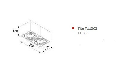 Tito T113C3 Plafon Cleoni czarny mat struktura